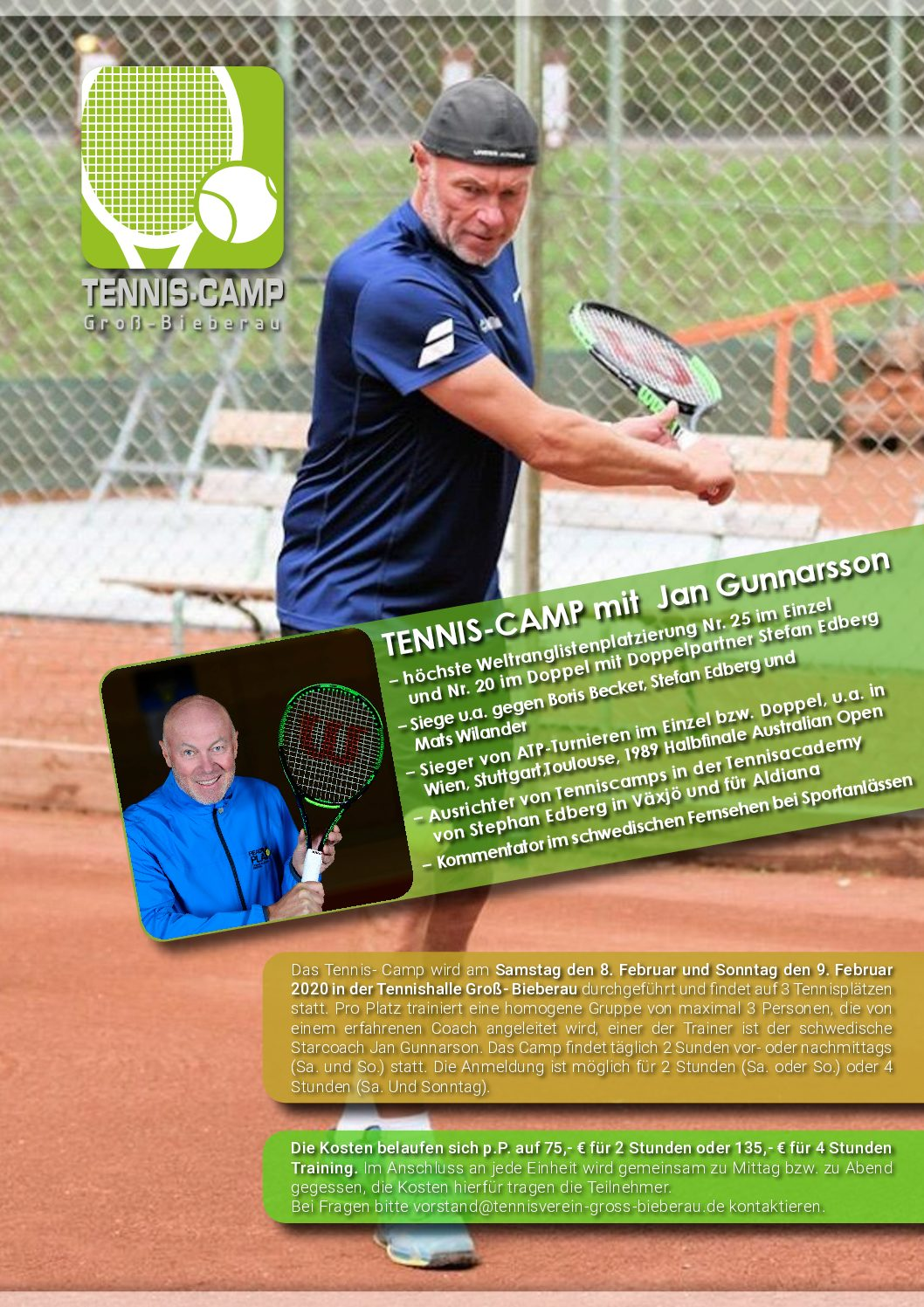 Tenniscamp mit Tennisprofi Jan Gunnarson